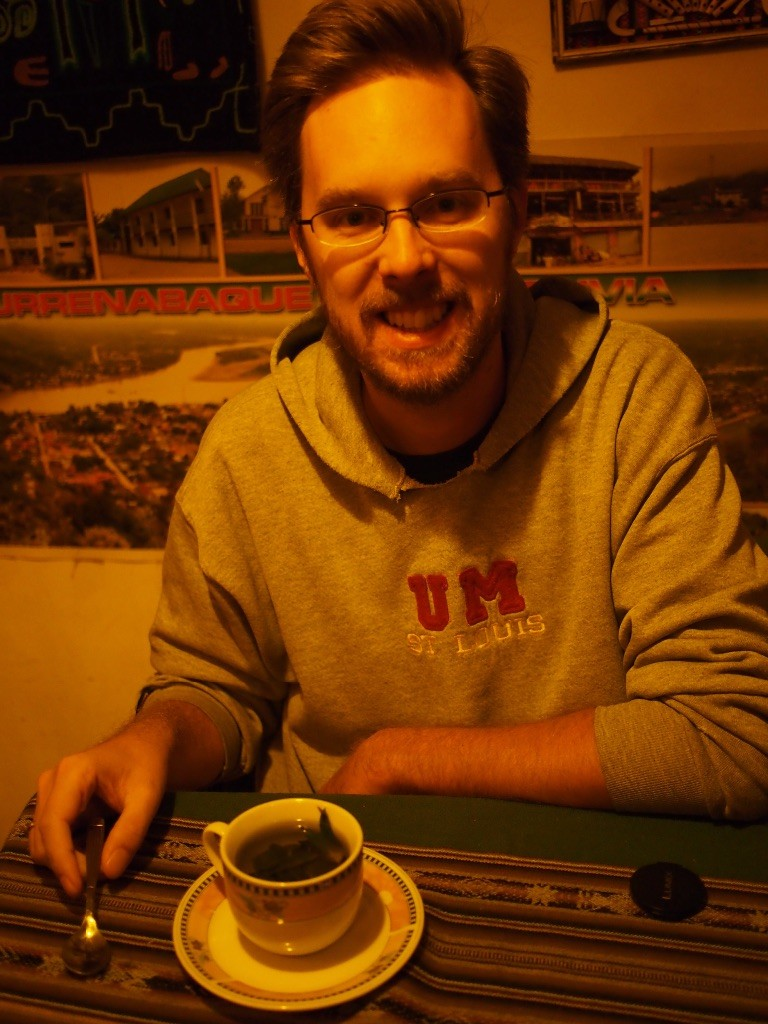 Josh drinks some mate de coca, with whole coca leaves. Good for headaches,